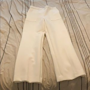Zara white work pant with side zip
